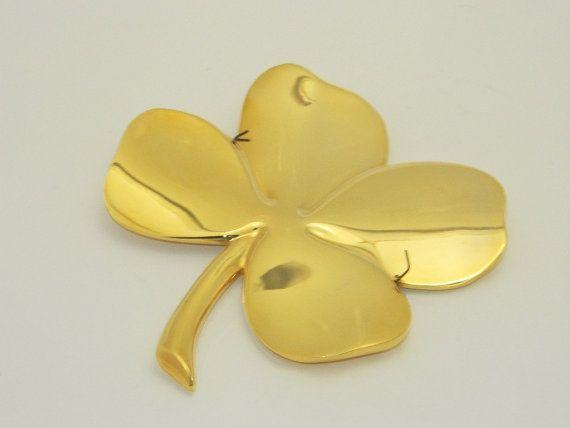 24k Gold Plated Gerity Four Leaf Clover By Memeresattic On