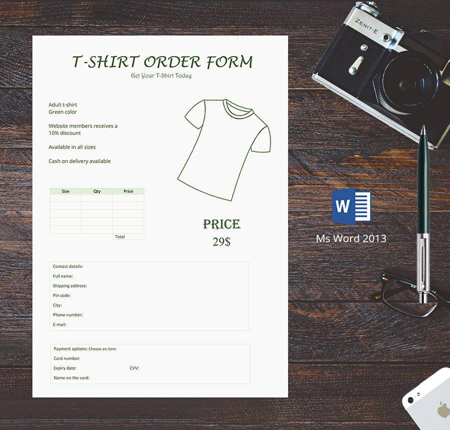 Free T-Shirt Order Forms Free \ Premium Templates Freebies - t shirt order form