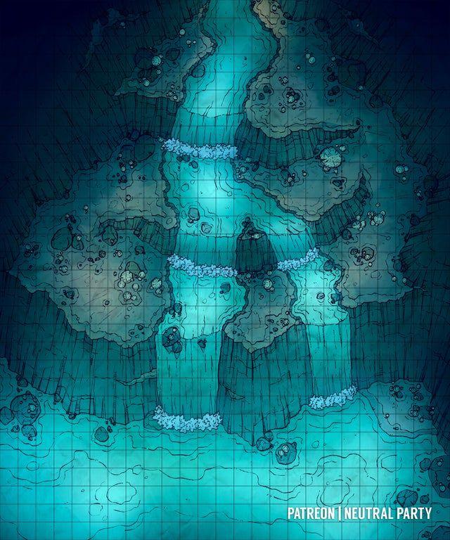 Underdark Map 5e : underdark, Underdark, Waterfall, Battlemaps, World, Dungeon, Maps,, Pathfinder
