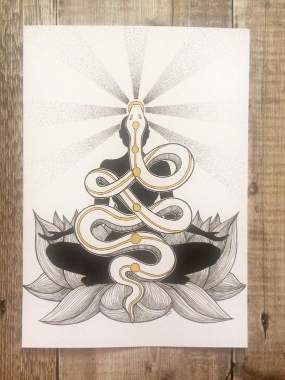Kundalini chakra art spiritual art snake art lotus flower | Etsy