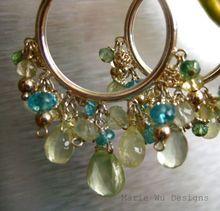 Glowing Prehnite~Neon Apatite~Lemon Quartz~Sterling Silver Hoop Earrings~