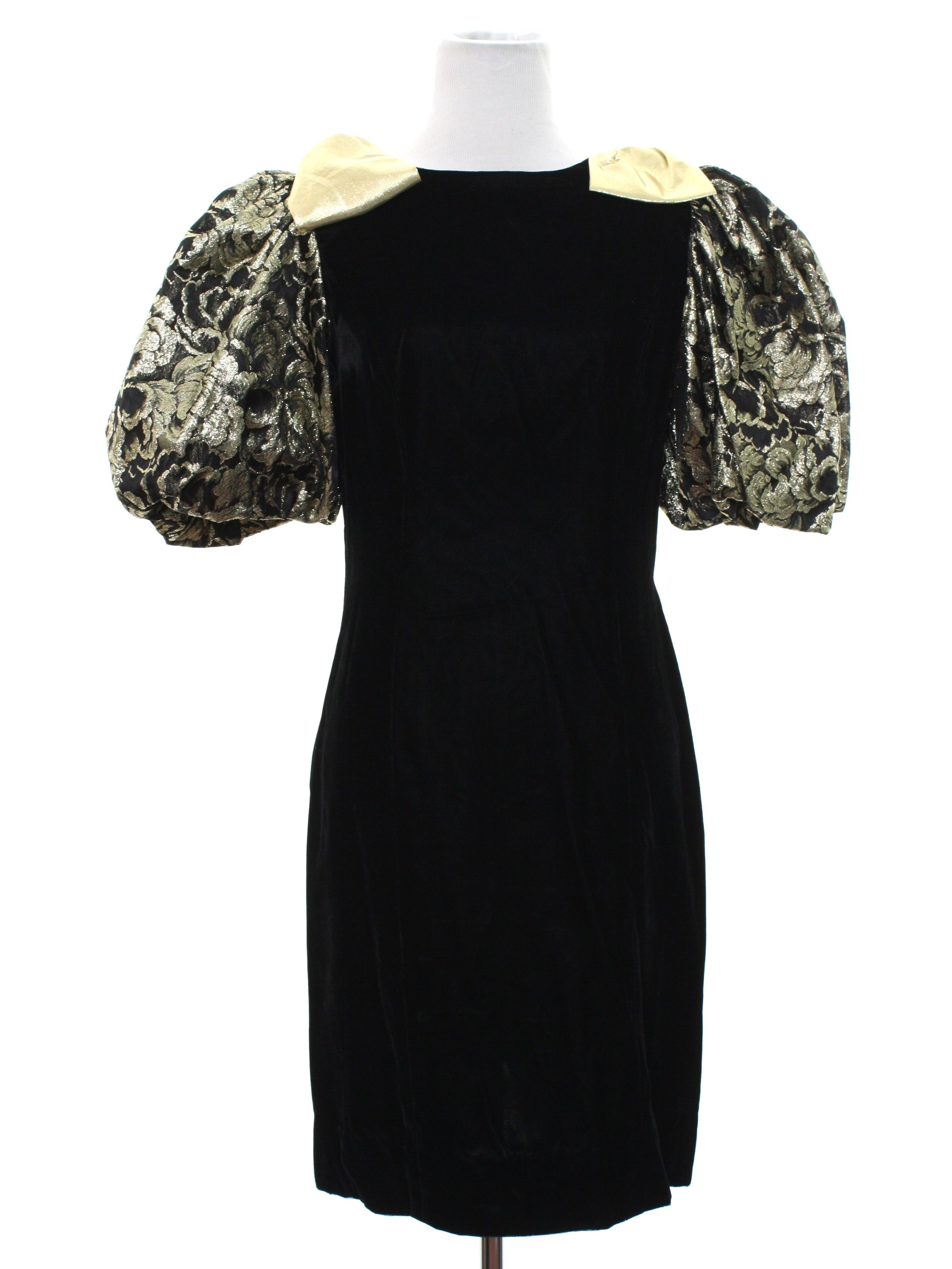 fd06a653920f Missing Label Eighties Vintage Cocktail Dress  80s -Missing Label- Womens  black background rayon