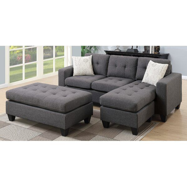 Fleshman Reversible Sectional With Ottoman In 2020 Sectional Sofa With Chaise Sectional Ottoman Small Sectional Sofa