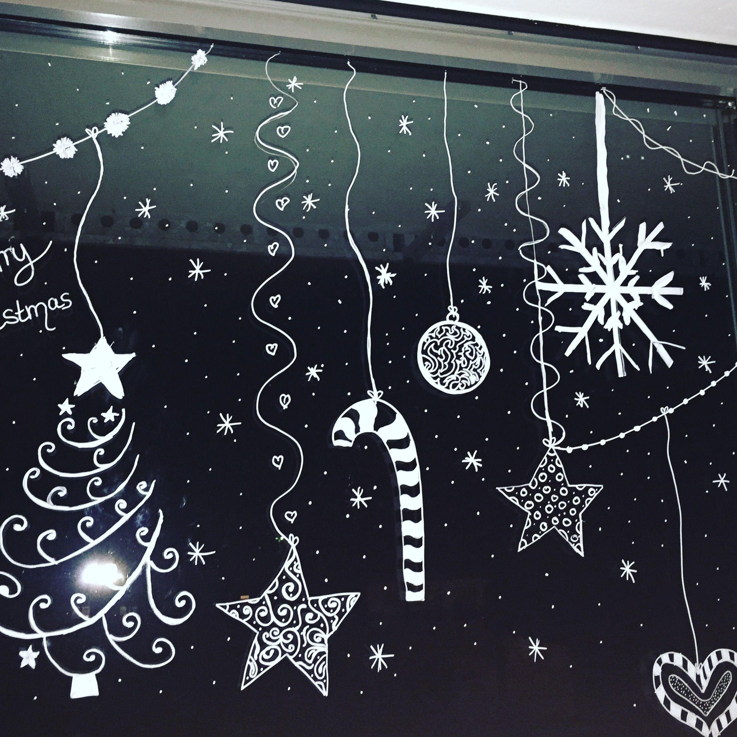 Kreidestift-Fensterbemalung :)  Weihnacht fenster, Fensterbilder