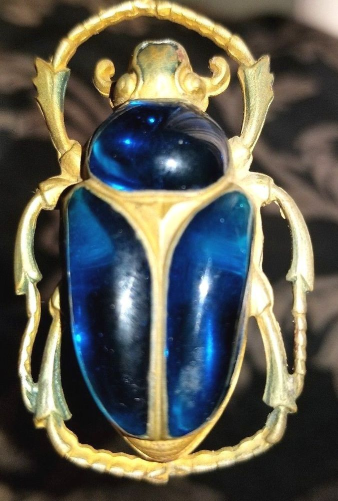Antique Egyptian Revival Cobalt Blue Scarab Beetle 10