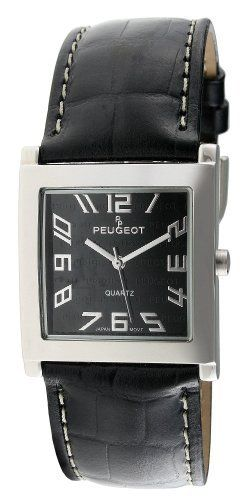 Peugeot Women's 312BK Silver-Tone Black Leather Strap Watch Peugeot. $49.99. Water-resistant to 99 feet (30 M). Limited lifetime warranty. Accurate Japanese-quartz movement; durable mineral crystal. Genuine leather strap. Free lifetime battery replacement from Peugeot