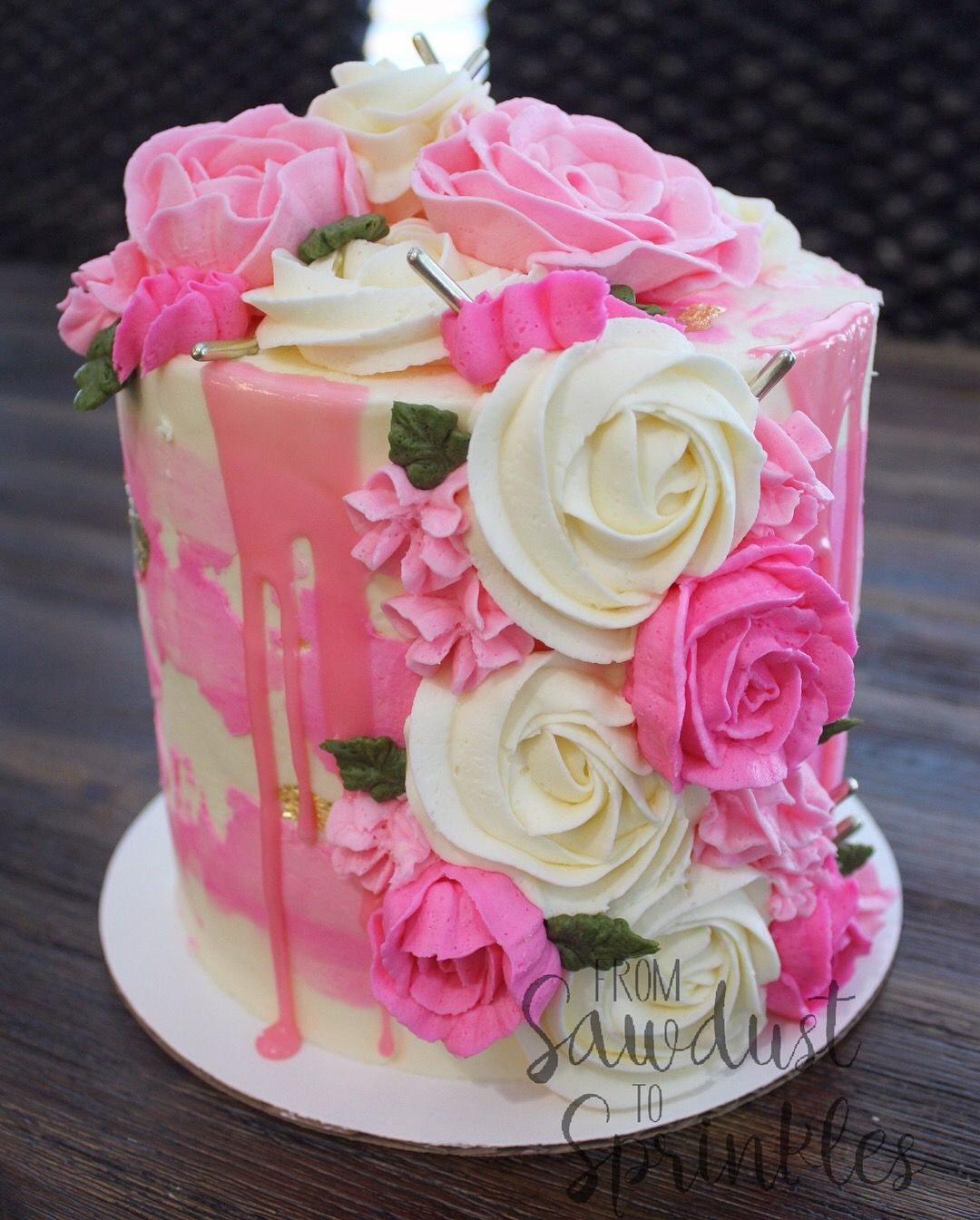 Vanilla Cake With Strawberry Cream Frosting Buttercream Flowers
