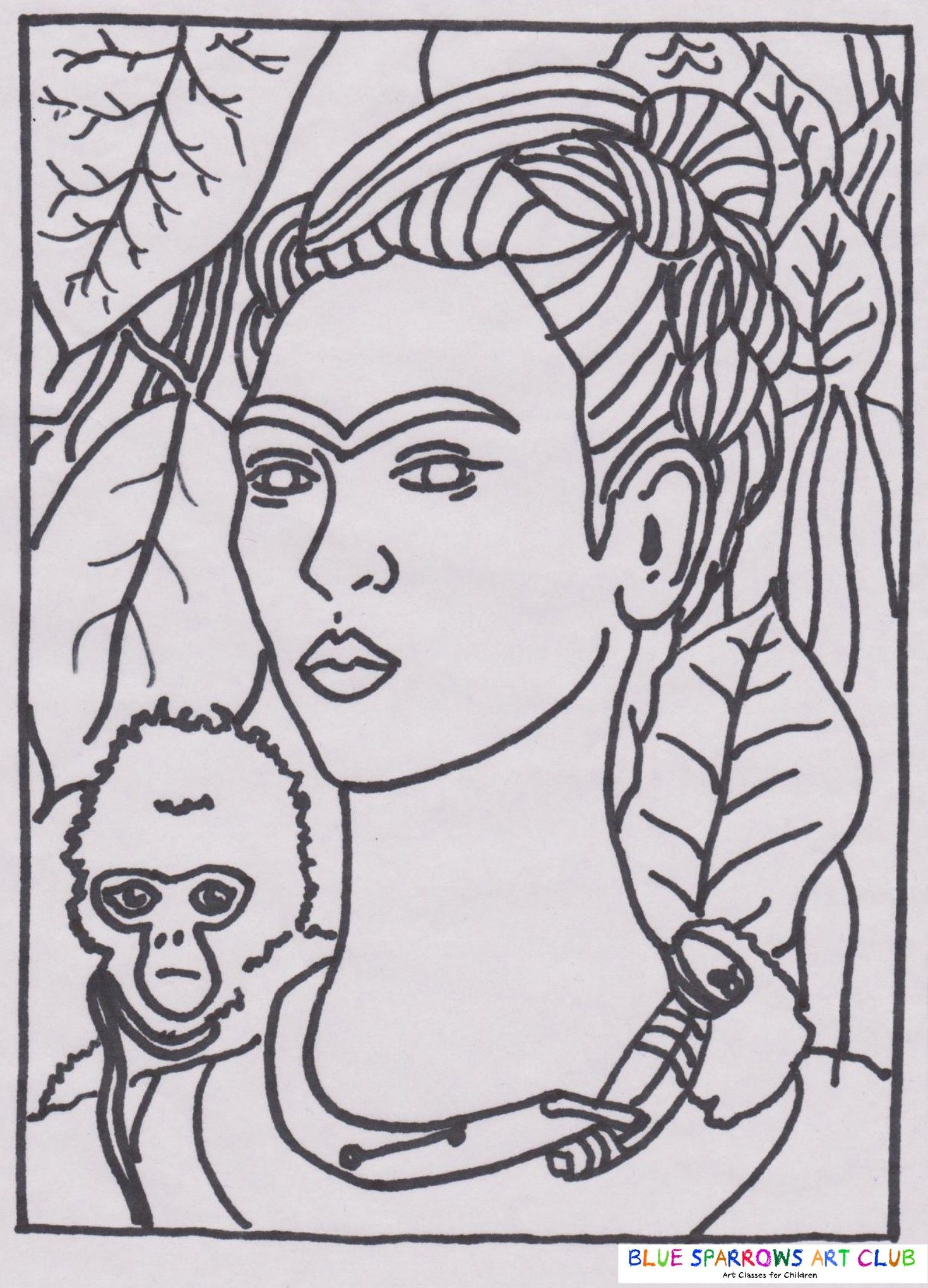 Frida Kahlo Self Portrait With Monkey Free Art Colouring Page