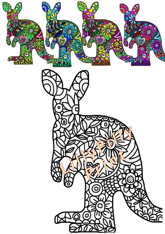 Colouring In Page For Adults Digital By Lillypillyprint Australia Day