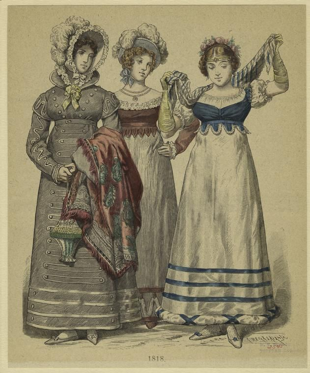 [German women in formal dress, 1818.]