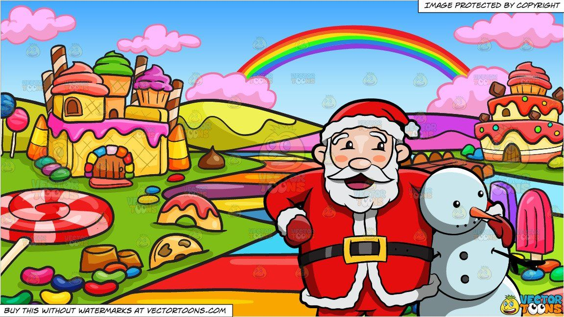 Santa Claus Hugging A Snowman and A Candy Land Background