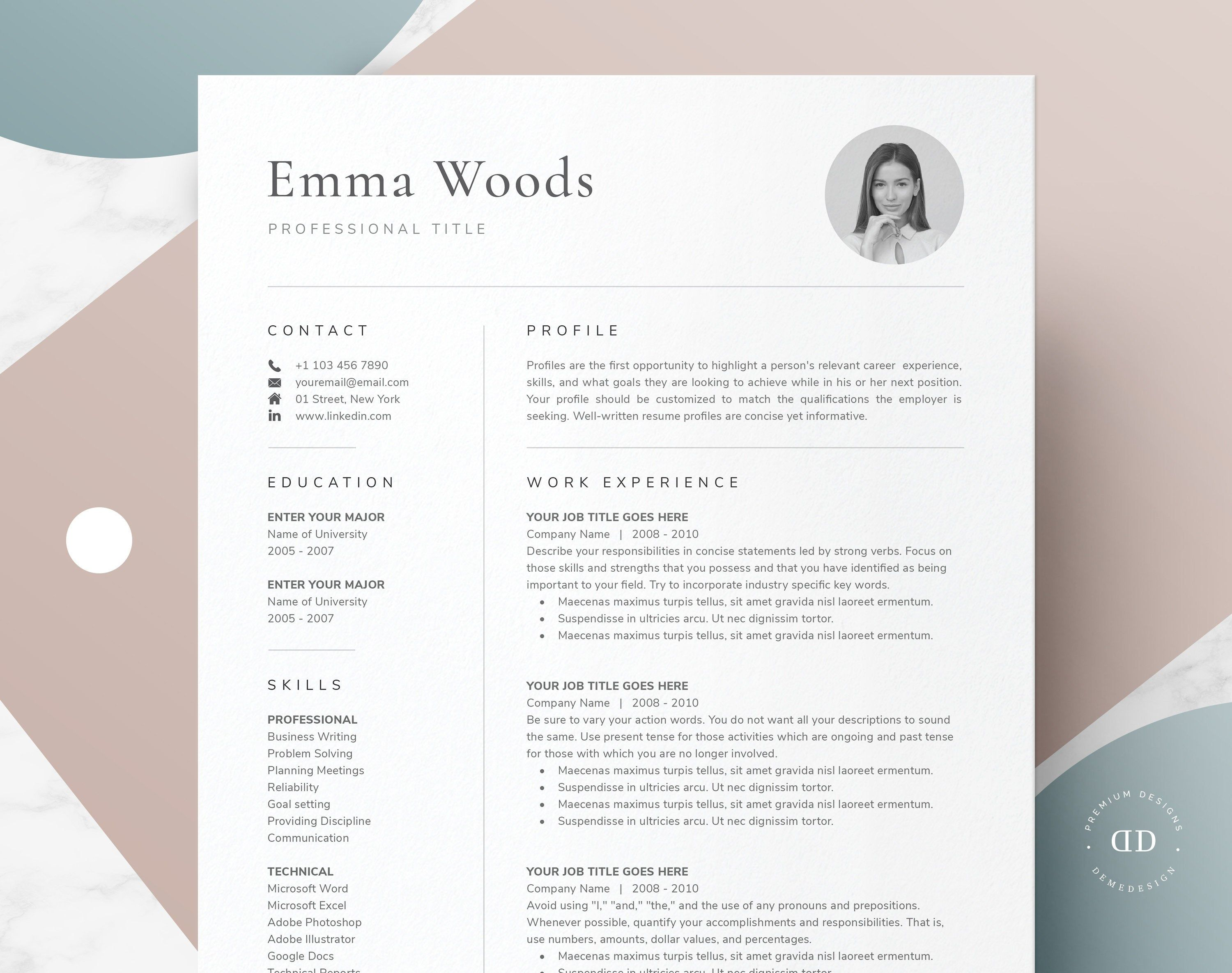 ONE Page Resume Template with Photo for Word, Pages