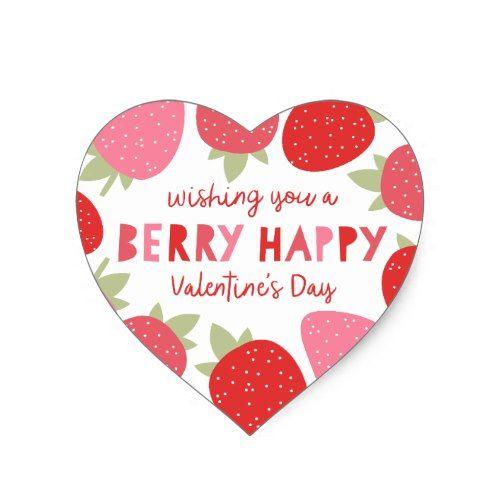 Berry Cute Valentine Heart Sticker | Valentine\' Day Ideas ...