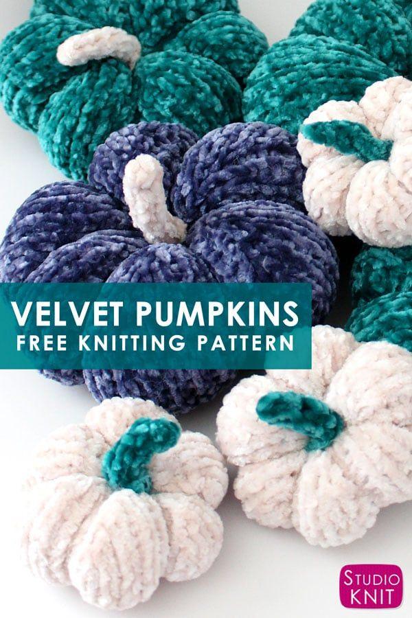 Knit Up Soft Velvet Mini Pumpkins Flat On Straight Needles Knit