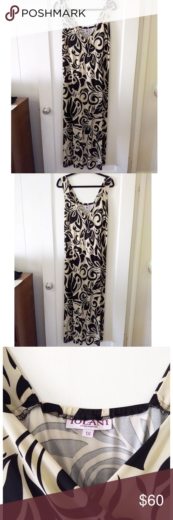 ddf548f4c799 Black print on a beige/nude background. Very lightweight, smooth and  stretchy material. Empire waist with elastic. Iolani Dresses Maxi