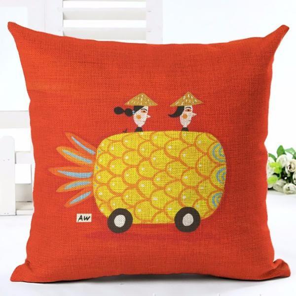 """Housse coussin """"Run Pineapple, Run !"""""""