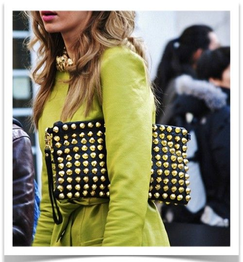 that color green with the black leather/gold studs <3