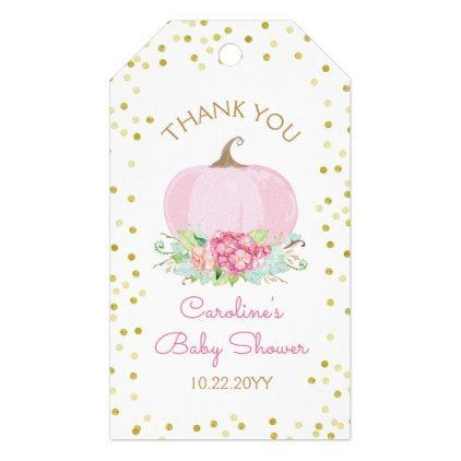 Boho Pink Pumpkin Baby Girl Shower Watercolor Gift Tags   Zazzle.com