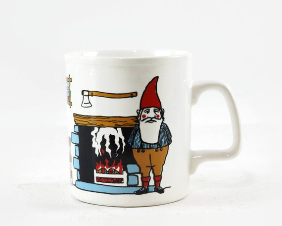 Vintage Coffee Mug With Gnomes Kiln Craft English Ironstone Mug