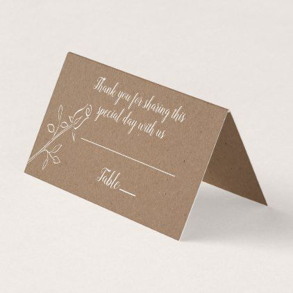 Floral Country Rose Brown Kraft Wedding Thank You Place Card Place