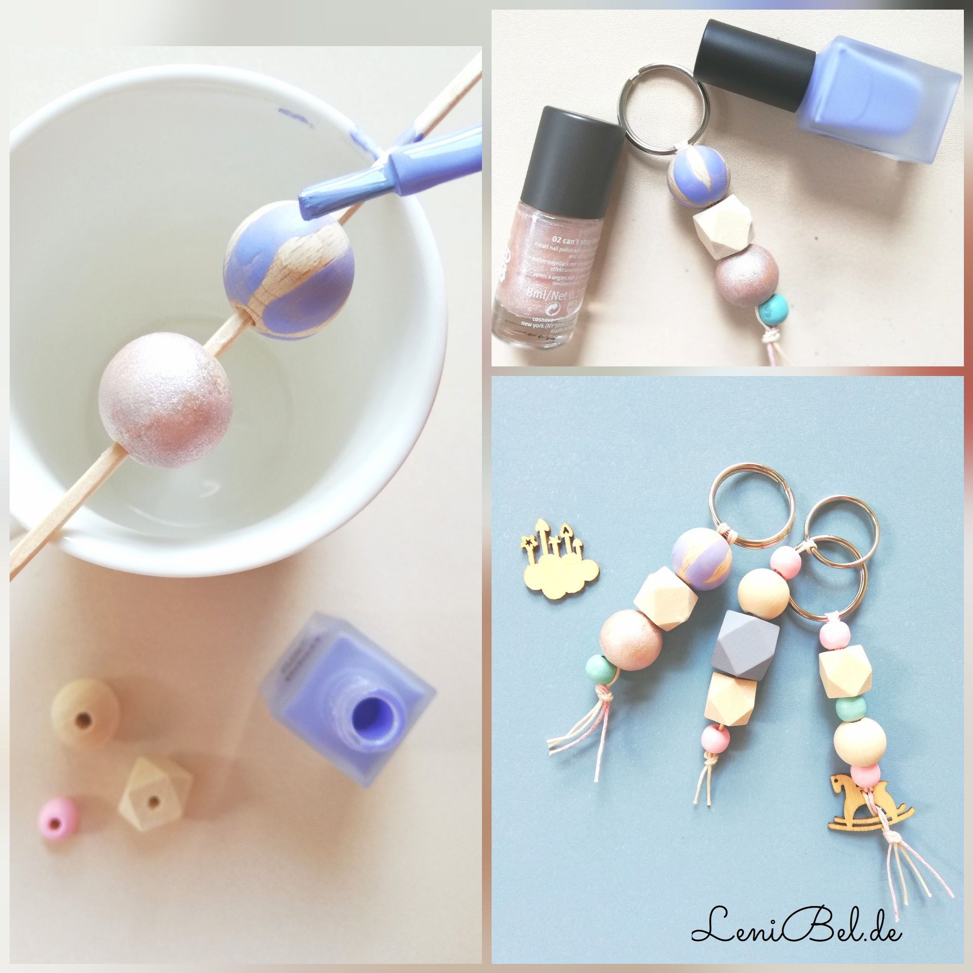 Photo of Keychain DIY with wooden beads and nail polish