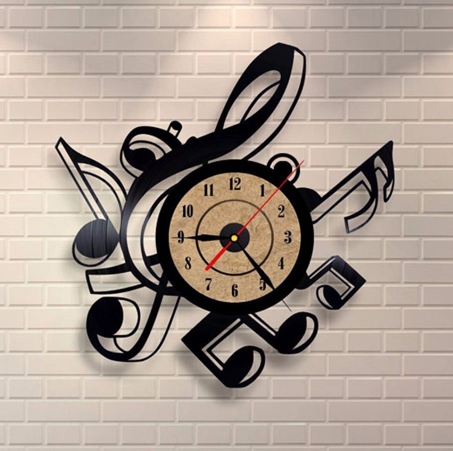 Music Instruments Notes/_Exclusive wall clock made of vinyl record/_GIFT