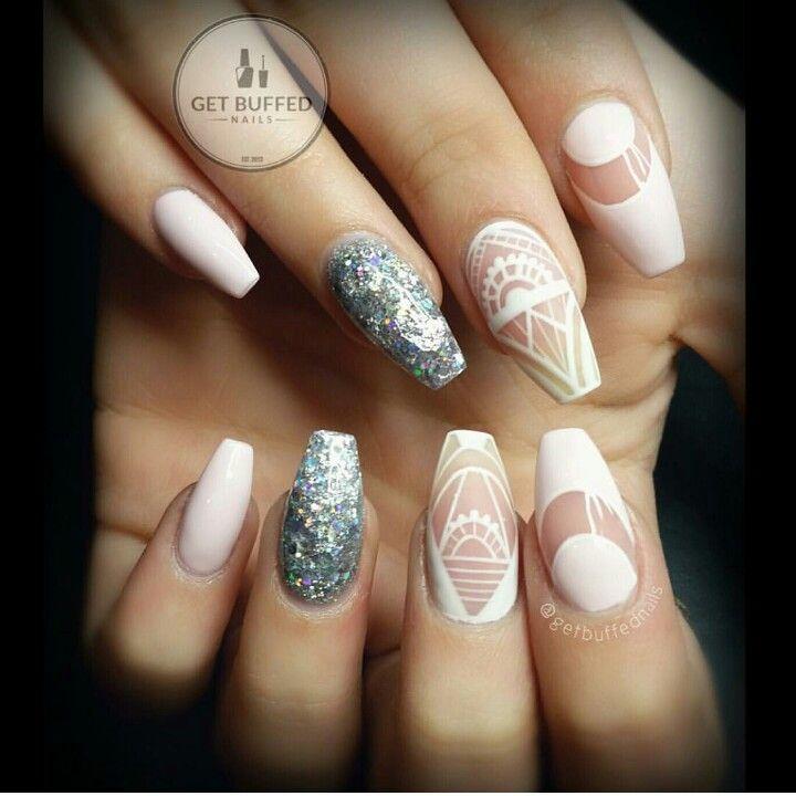 Kare kesim gel nail design jel tırnak dizaynı.. simli silver beyaz