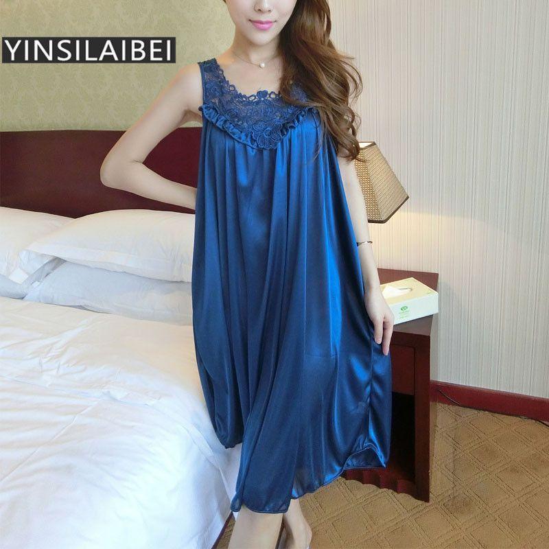ab365e2ce0 Summer Night Dress Sexy Nightgowns Women Nightwear Lace Satin Ice Silk Long  Nightgowns Plus Size Sleepwear Sleep Dress SR003 35