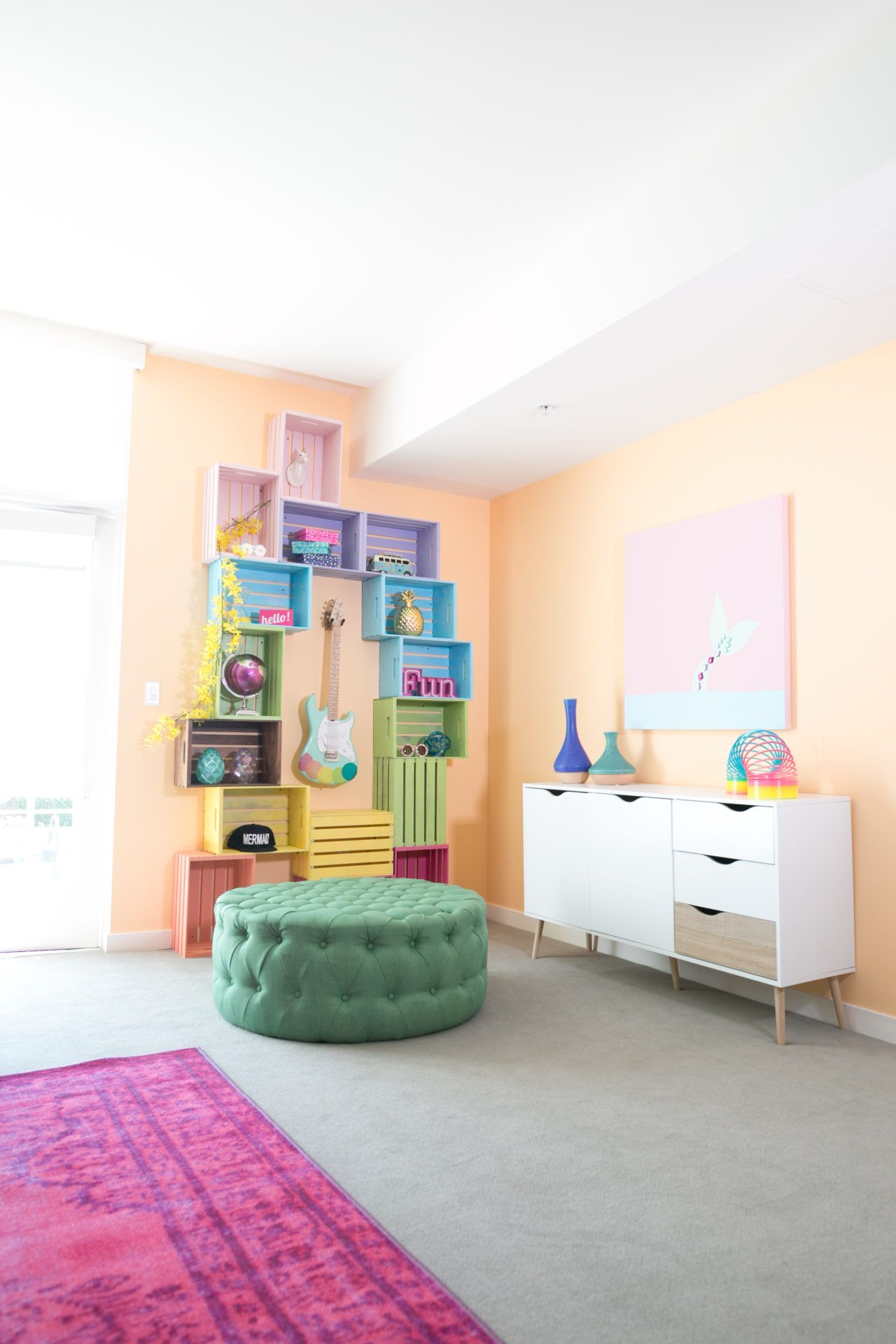 Diy colorful crate wall