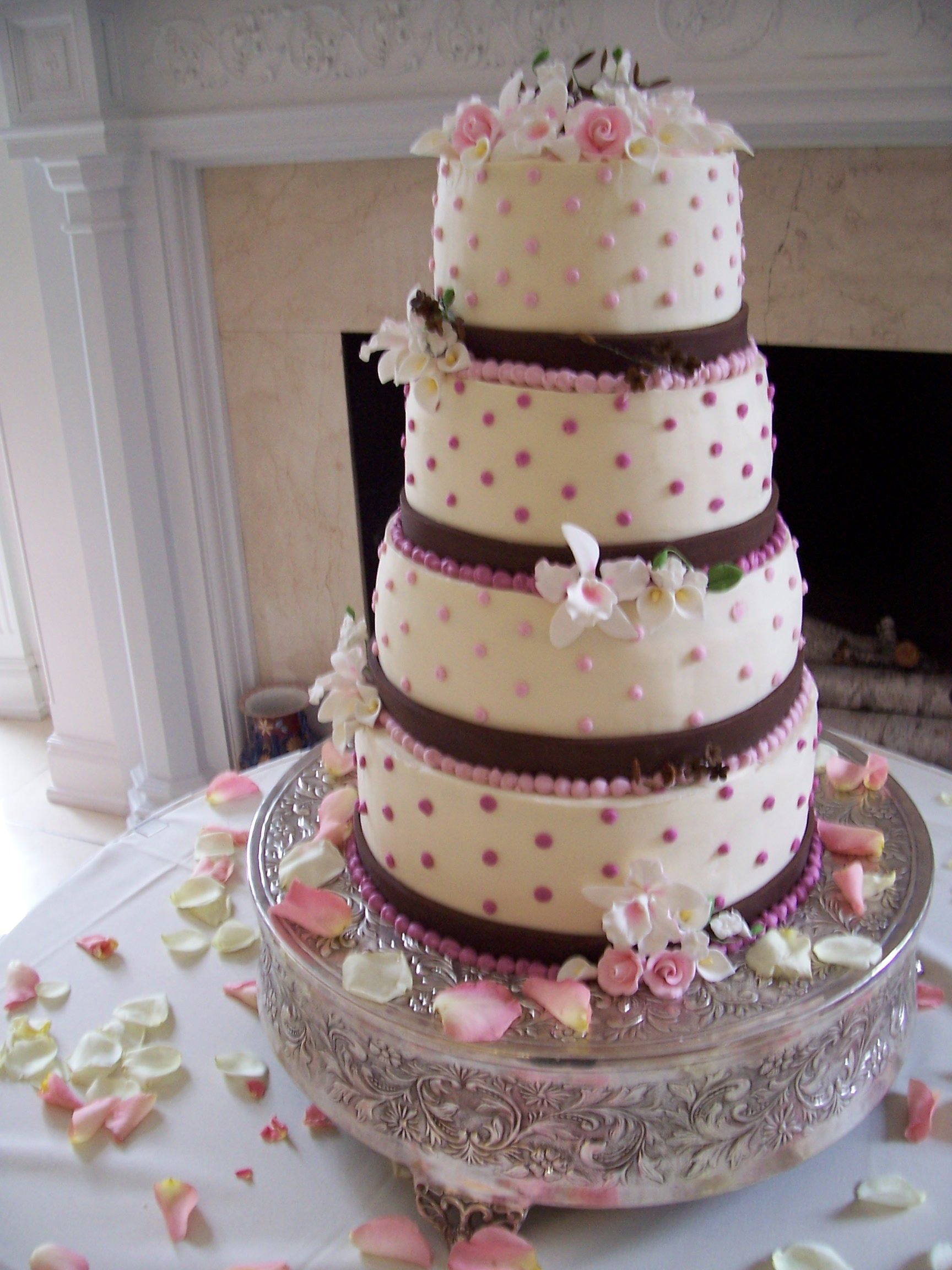 two shades of pink & brown wedding cake - triflescakes