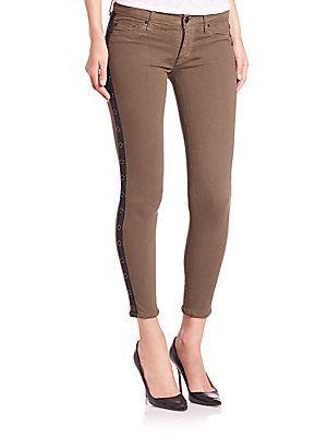 Hudson Gromet Embellished Tuxedo-Stripe Skinny Jeans - Fillmore Green