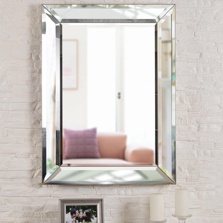 Nolan 40 Rectangular Beveled Wall Mirror Silver Design Craft Shabby Chic Bathroom Mirror Wall Bathroom Decor