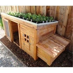 Cute little chicken coop with herb garden on top.  Fits four egg hens.  Adorable!