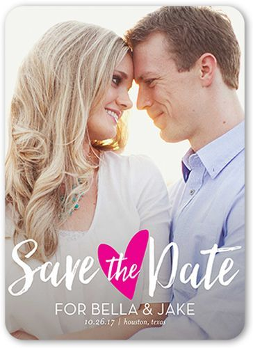 Save The Date Card: Sweetheart Romance, Rounded Corners