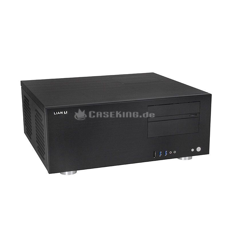 Lian Li PC-C60B HTPC-Chassis in schwarz. Mit seinem edlen Design und seiner hochwertigen Verarbeitung ist der PC-C60 sehr gut im multimedialen Umfeld aufgehoben. Die Front wird lediglich für die Laufwerksblenden, Bedienelemente und das I/O-Panel (mit USB 3.0*, eSATA und Audio) durchbrochen. Damit kommt die gebürstete Struktur der Aluminium-Oberfläche hervorragend zur Geltung, welche das gesamte Gehäuse kennzeichnet.