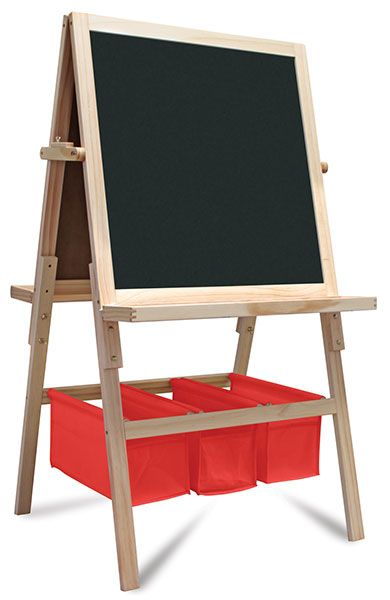 wood easel reversible chalk board dry erase board also holds paper roll for painting kid. Black Bedroom Furniture Sets. Home Design Ideas