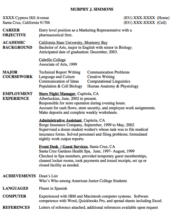 Entry Level Marketing Representative Resume Sample Examples Resume Cv Marketing Resume Job Resume Examples Functional Resume Template