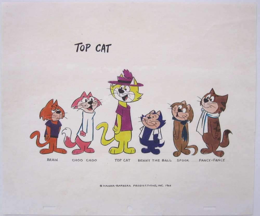 Colour Model Sheet from the Top Cat Series. The Model Sheet is dated 1966 and was probably done as presentation or Licensing Artwork for the 1966 re-running of the original episodes