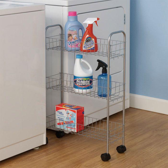 Slimline Utility Cart Home Organization Laundry Room Storage