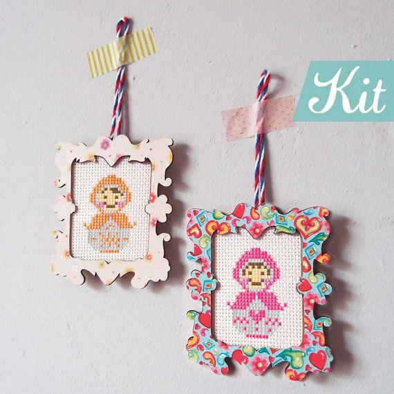 Matryoshka Cross Stitch KIT, Easy DIY kits, Russian dolls patterns ...