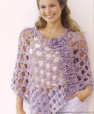Crochet Summer Lacey Poncho with Flowers Free Chart
