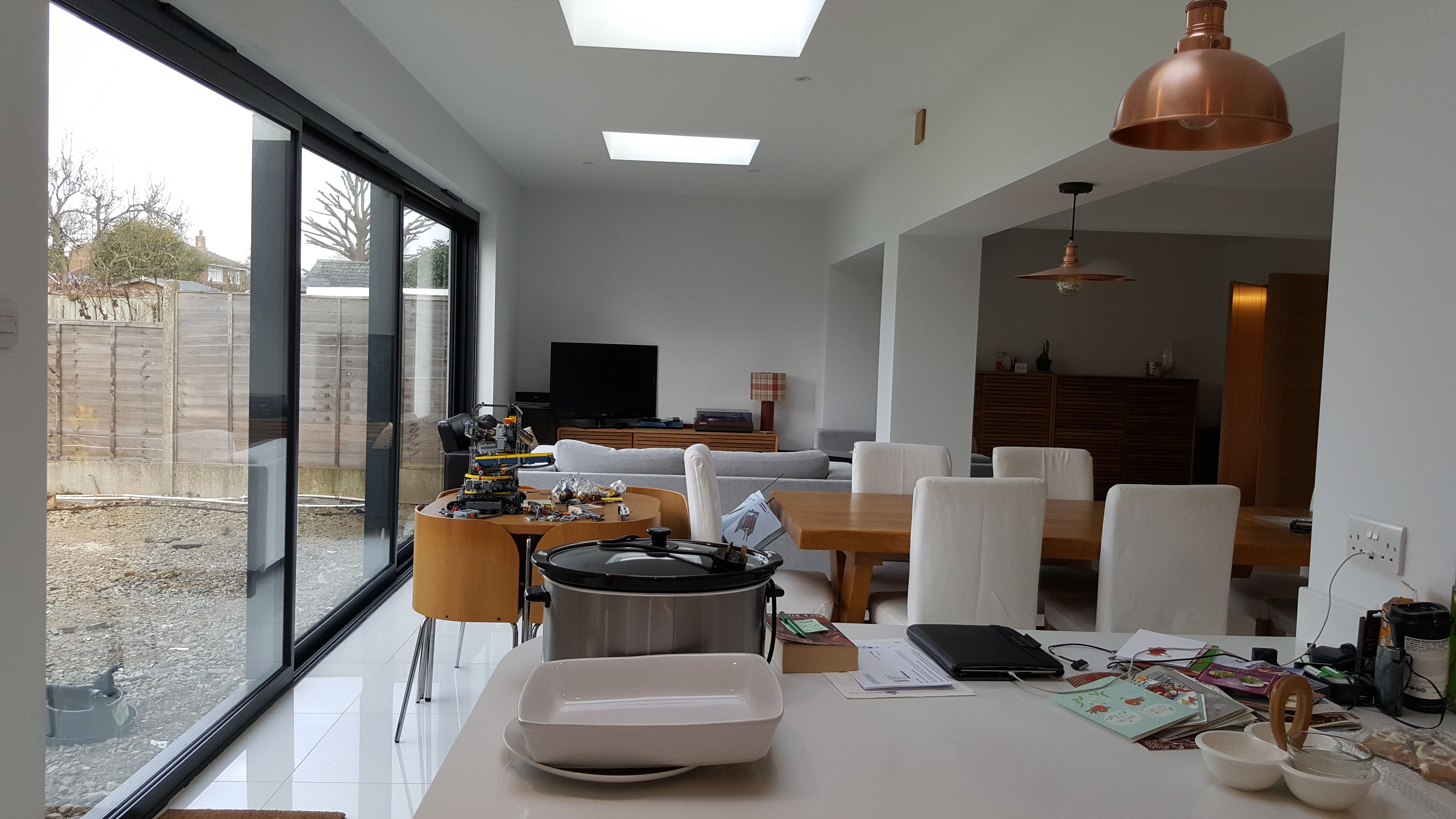 Flat roof (it is the inside view of the white L-shaped ...