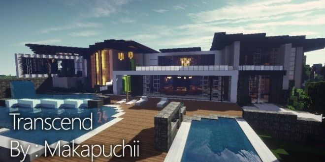 Here Is A Modern Mansion Built By Makapuchii This House Has Many Features Including Multipl Minecraft Modern Modern Minecraft Houses Minecraft Modern Mansion
