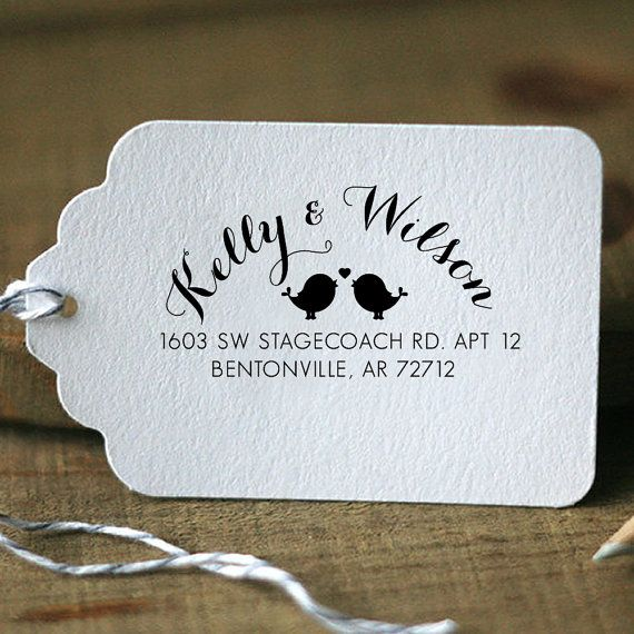 personalized custom name returned address wedding gift card handle mounted rubber stamp re726 - Return Address On Wedding Invitations