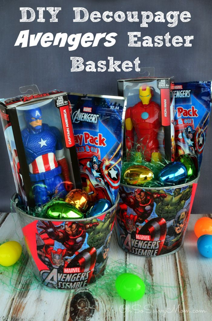 Make your own decoupage diy avengers easter basket for under 5 25 great easter basket ideas crazy little projects negle Choice Image