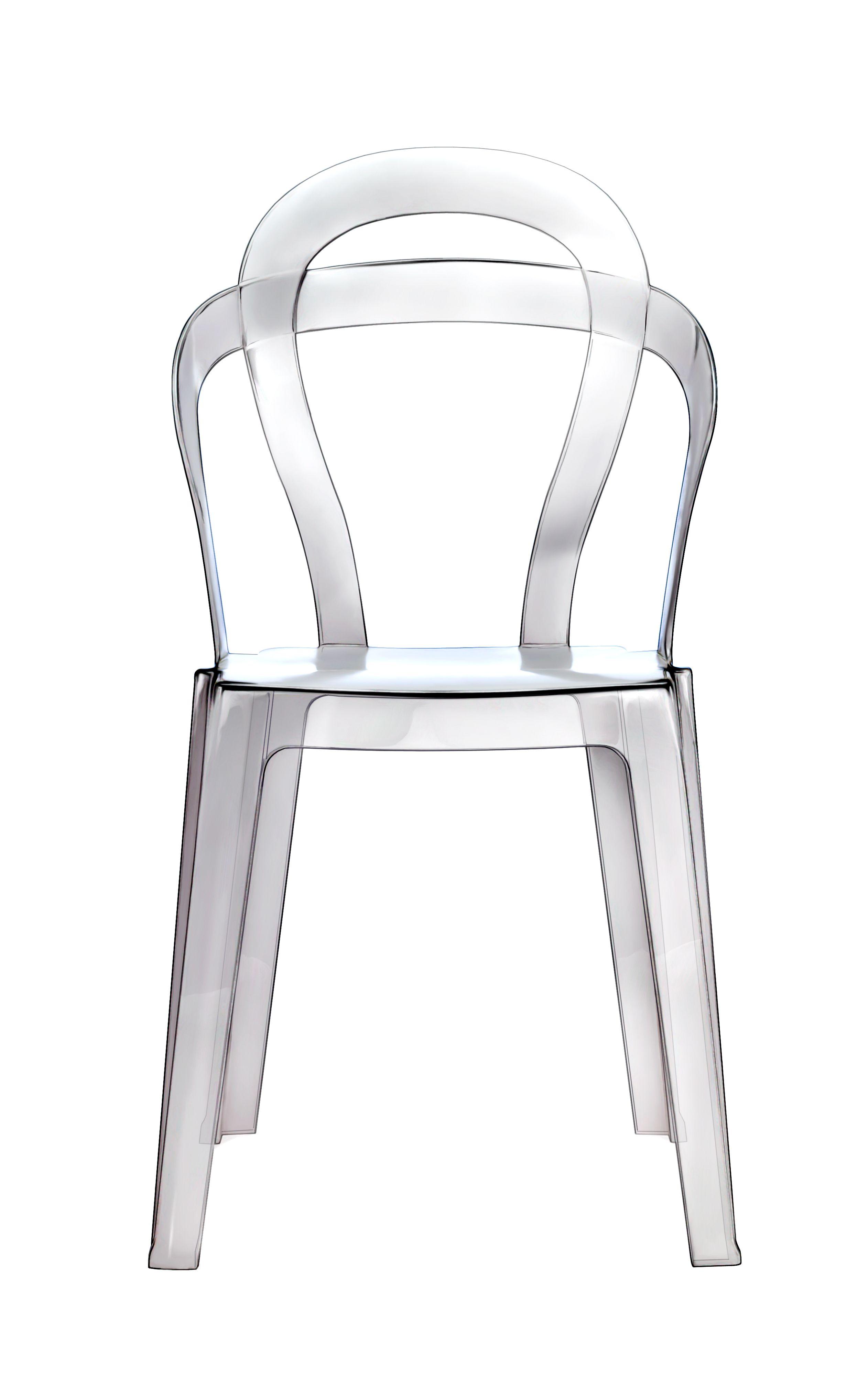 Estructura elaborada en policarbonato transparente, translúcido y colores sólidos. Caracterizada por su respaldo con el toque de Art-Nouveau constituido por 2 parábolas Para uso interno y externo Estibable.  Disponible en DISEÑO TURQUESA
