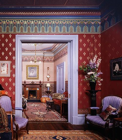 Victorian Mural Wallpaper: Rich Colors, Sumptuous Fabrics, Ornate Decoration And