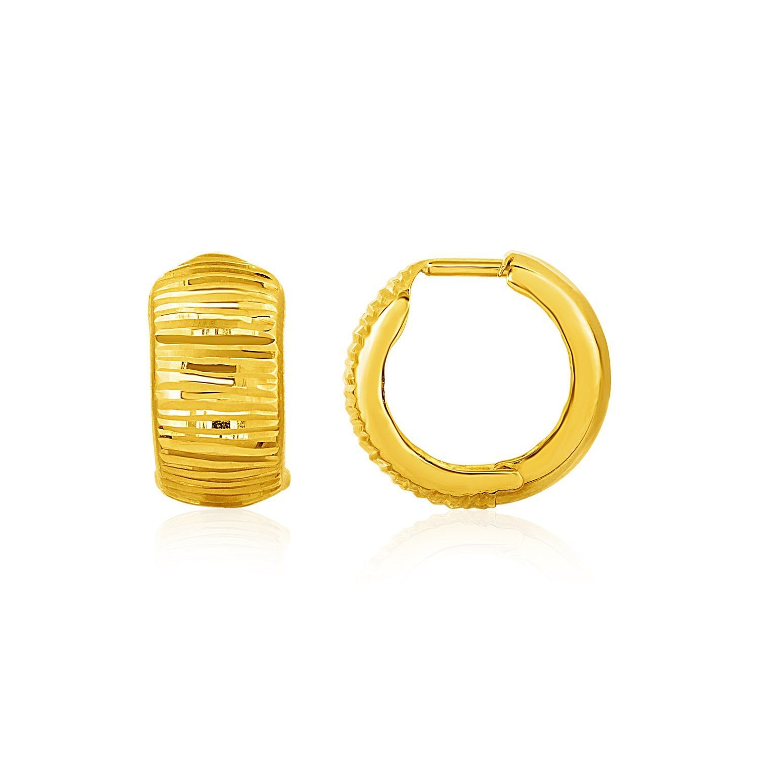 77140a928 Choose either texture or a smooth shine by wearing these reversible gold  hoop earrings. Snuggable
