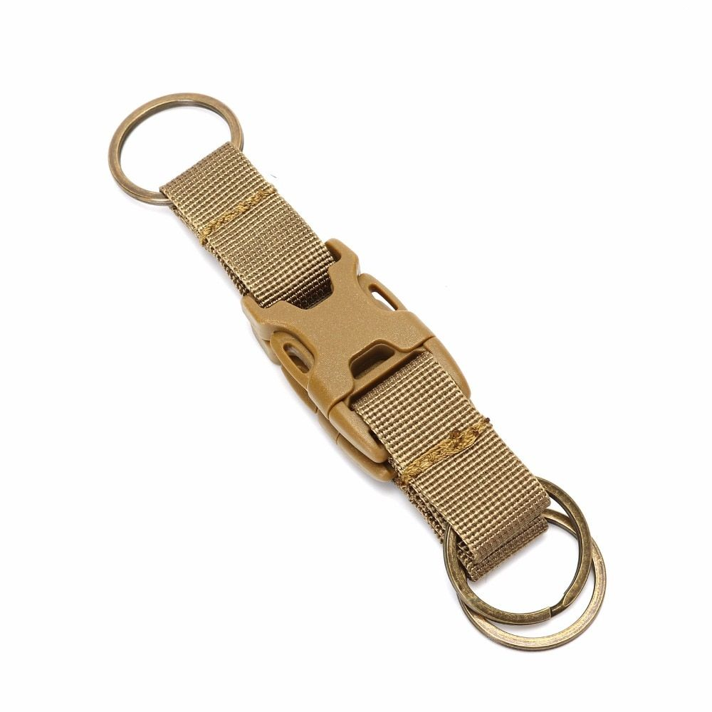 Tatical Webbing Belt Carabiner Strap Buckle Keychain Hook Outdoors Mud Color