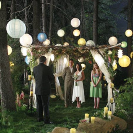night time forest wedding